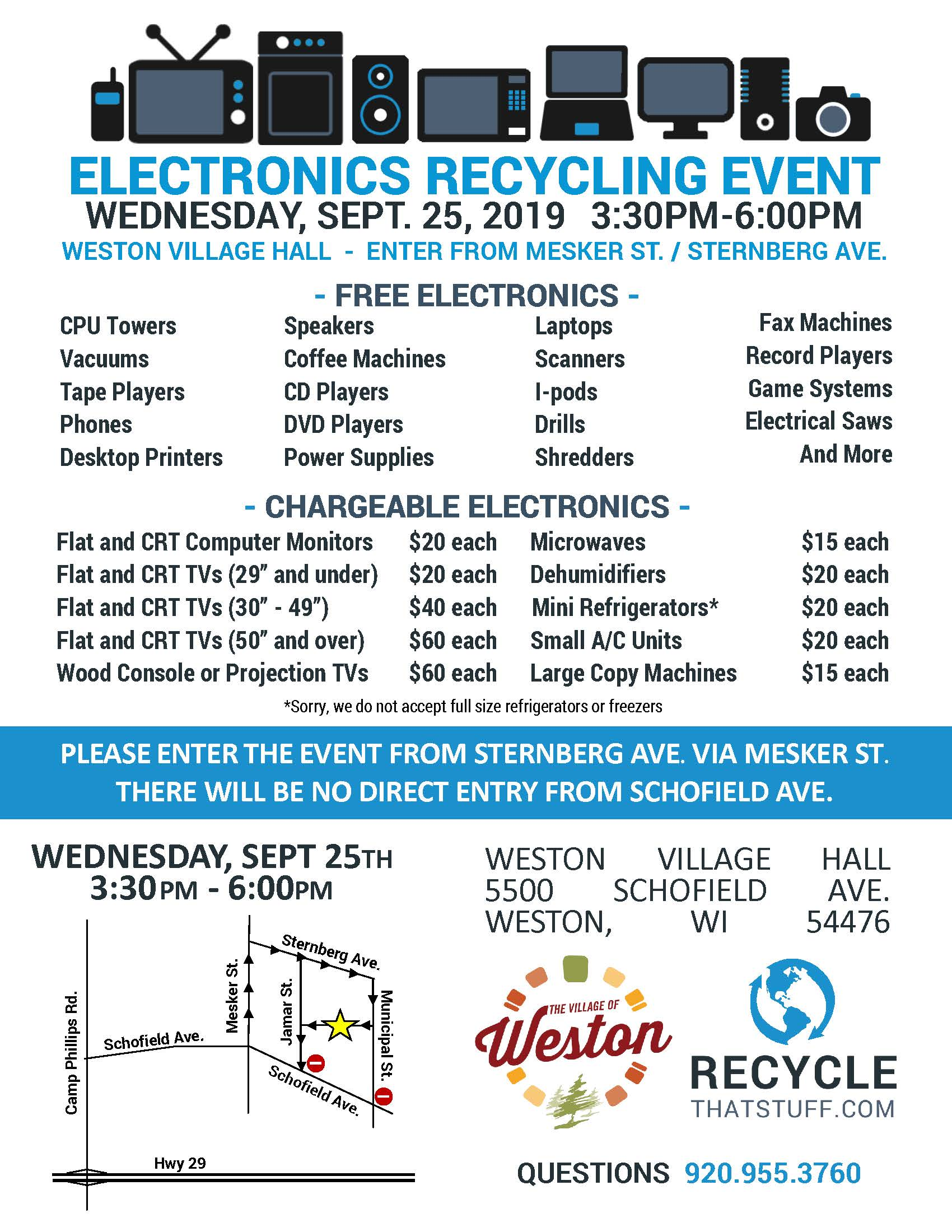 Electronics Recycling Event Flyer - Fall 2019