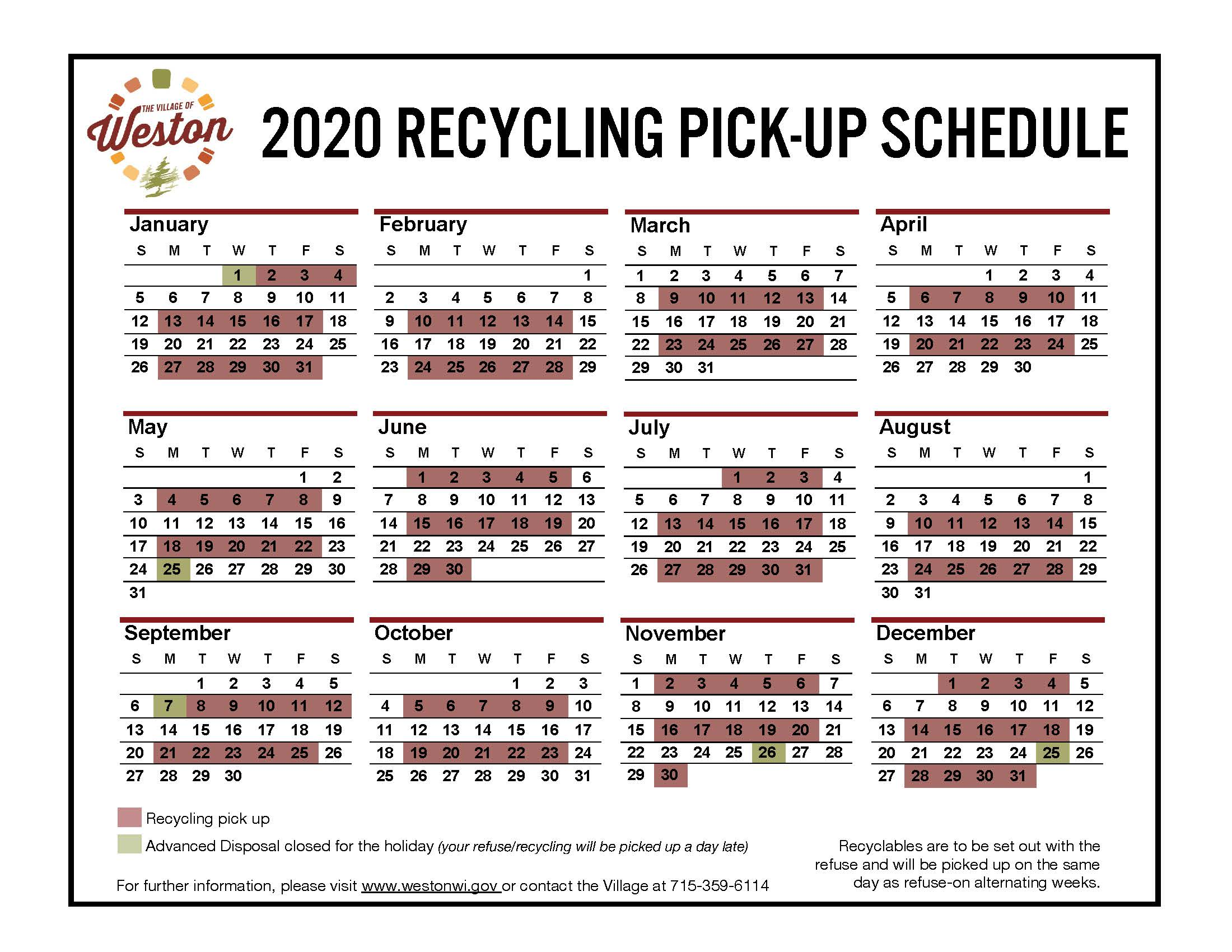 2020 RECYCLING SCHEDULE - Final