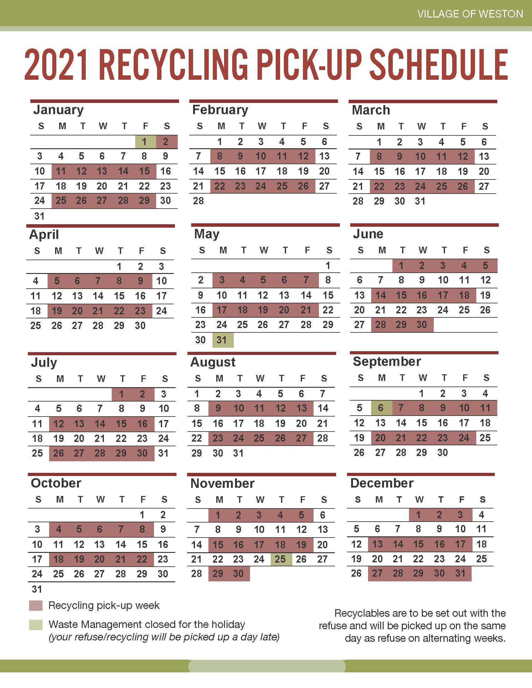 2021 Refuse-Recycling Calendar